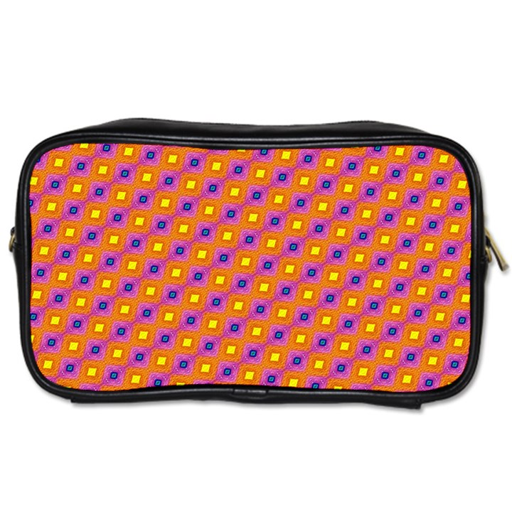 Vibrant Retro Diamond Pattern Toiletries Bags 2-Side
