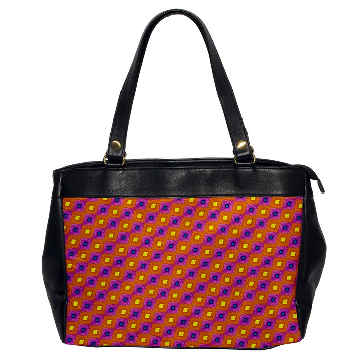 Vibrant Retro Diamond Pattern Office Handbags