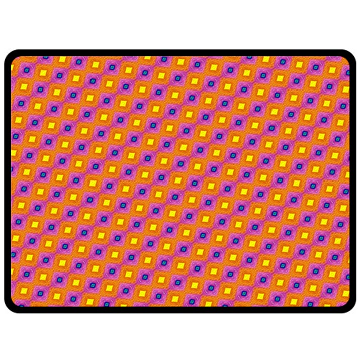 Vibrant Retro Diamond Pattern Fleece Blanket (Large)