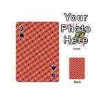 Vibrant Retro Diamond Pattern Playing Cards 54 (Mini)  Front - Spade9