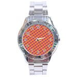 Vibrant Retro Diamond Pattern Stainless Steel Analogue Watch Front