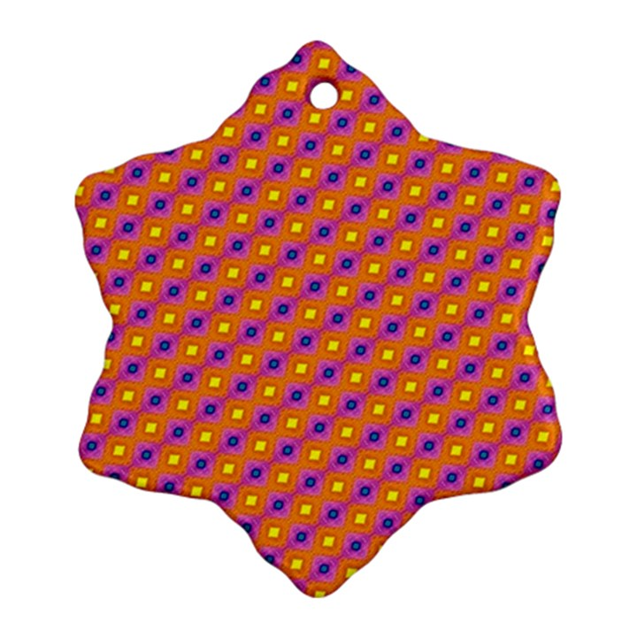 Vibrant Retro Diamond Pattern Ornament (Snowflake)