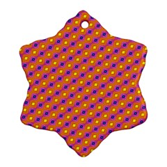 Vibrant Retro Diamond Pattern Snowflake Ornament (2 Side)