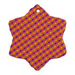 Vibrant Retro Diamond Pattern Snowflake Ornament (2-Side) Back