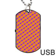 Vibrant Retro Diamond Pattern Dog Tag Usb Flash (one Side)