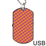Vibrant Retro Diamond Pattern Dog Tag USB Flash (One Side) Front