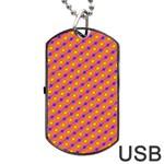 Vibrant Retro Diamond Pattern Dog Tag USB Flash (Two Sides)  Back