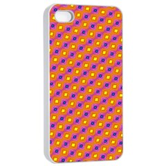 Vibrant Retro Diamond Pattern Apple iPhone 4/4s Seamless Case (White)