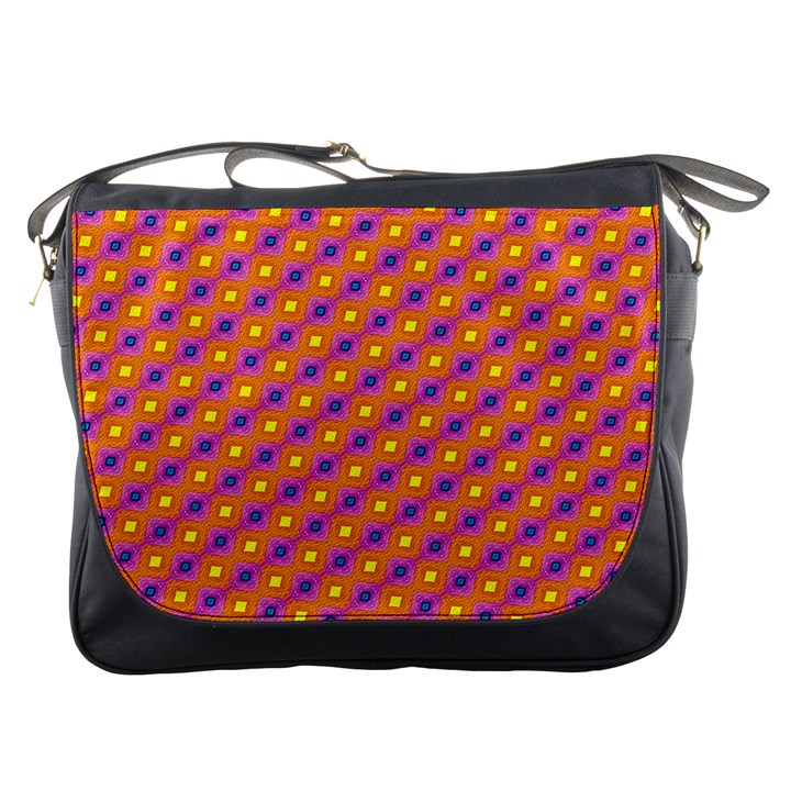 Vibrant Retro Diamond Pattern Messenger Bags