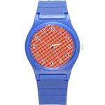 Vibrant Retro Diamond Pattern Round Plastic Sport Watch (S) Front