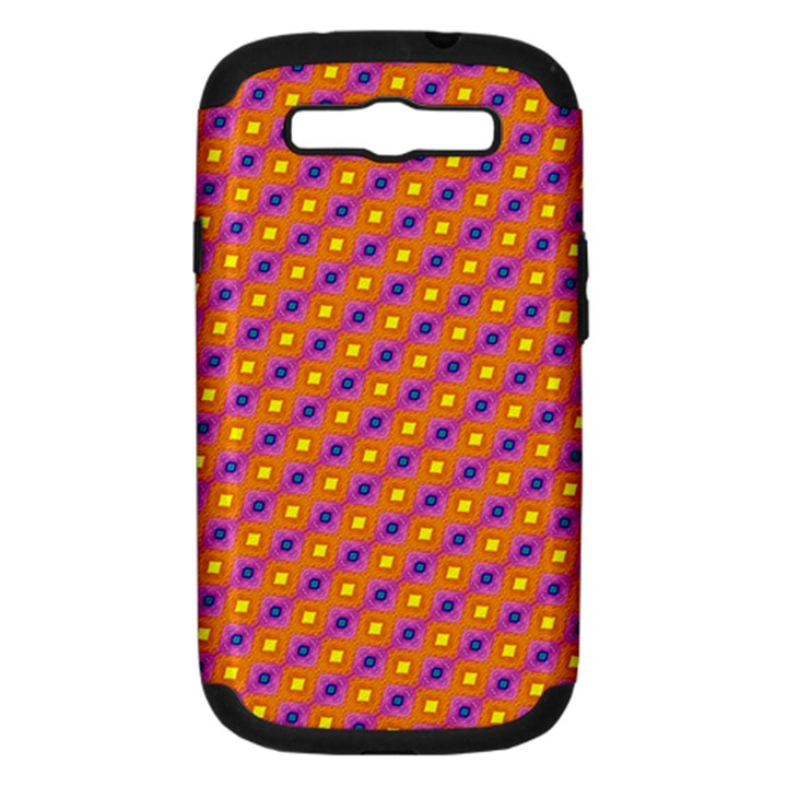 Vibrant Retro Diamond Pattern Samsung Galaxy S III Hardshell Case (PC+Silicone)