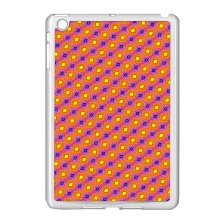 Vibrant Retro Diamond Pattern Apple iPad Mini Case (White)