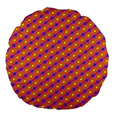 Vibrant Retro Diamond Pattern Large 18  Premium Round Cushions