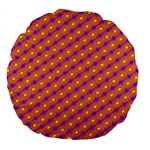 Vibrant Retro Diamond Pattern Large 18  Premium Round Cushions Back
