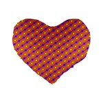 Vibrant Retro Diamond Pattern Standard 16  Premium Heart Shape Cushions Front
