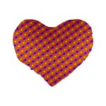 Vibrant Retro Diamond Pattern Standard 16  Premium Heart Shape Cushions Back