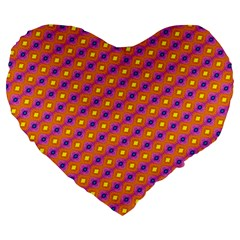 Vibrant Retro Diamond Pattern Large 19  Premium Heart Shape Cushions