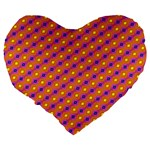 Vibrant Retro Diamond Pattern Large 19  Premium Heart Shape Cushions Back