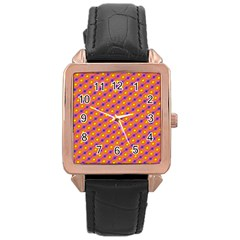 Vibrant Retro Diamond Pattern Rose Gold Leather Watch