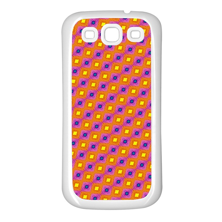 Vibrant Retro Diamond Pattern Samsung Galaxy S3 Back Case (White)