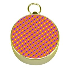 Vibrant Retro Diamond Pattern Gold Compasses