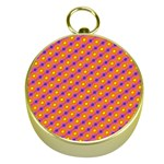 Vibrant Retro Diamond Pattern Gold Compasses Front