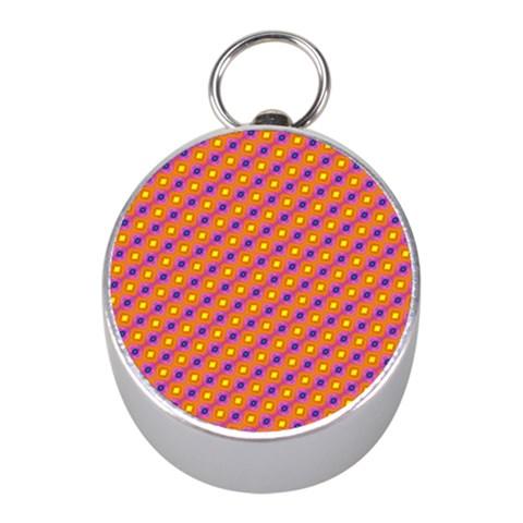 Vibrant Retro Diamond Pattern Mini Silver Compasses