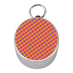 Vibrant Retro Diamond Pattern Mini Silver Compasses
