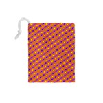 Vibrant Retro Diamond Pattern Drawstring Pouches (Small)  Back