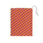 Vibrant Retro Diamond Pattern Drawstring Pouches (Medium)  Front