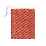 Vibrant Retro Diamond Pattern Drawstring Pouches (Medium)  Back