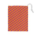 Vibrant Retro Diamond Pattern Drawstring Pouches (Large)  Front
