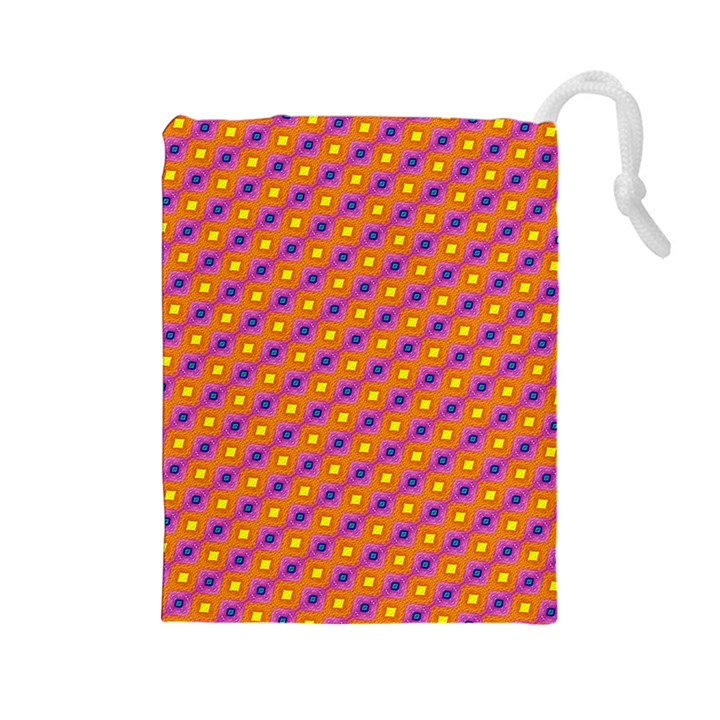Vibrant Retro Diamond Pattern Drawstring Pouches (Large)