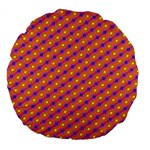 Vibrant Retro Diamond Pattern Large 18  Premium Flano Round Cushions Back