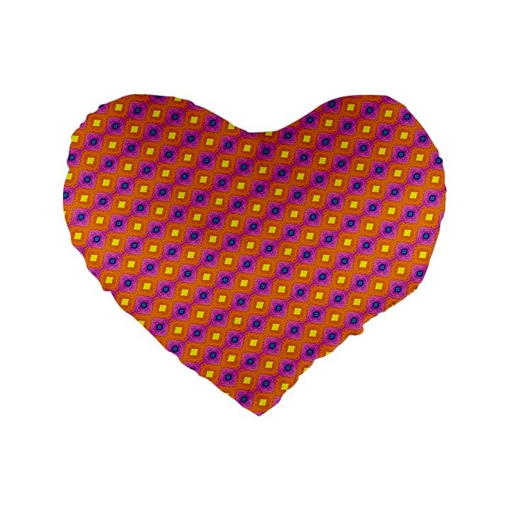 Vibrant Retro Diamond Pattern Standard 16  Premium Flano Heart Shape Cushions