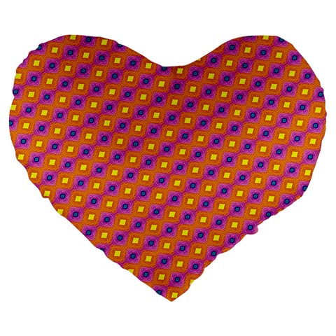 Vibrant Retro Diamond Pattern Large 19  Premium Flano Heart Shape Cushions