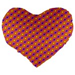 Vibrant Retro Diamond Pattern Large 19  Premium Flano Heart Shape Cushions Back