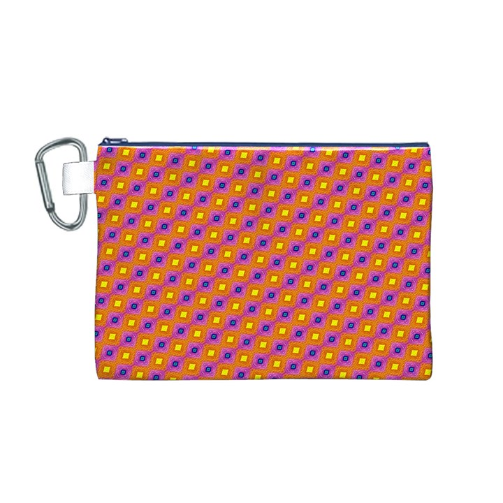 Vibrant Retro Diamond Pattern Canvas Cosmetic Bag (M)