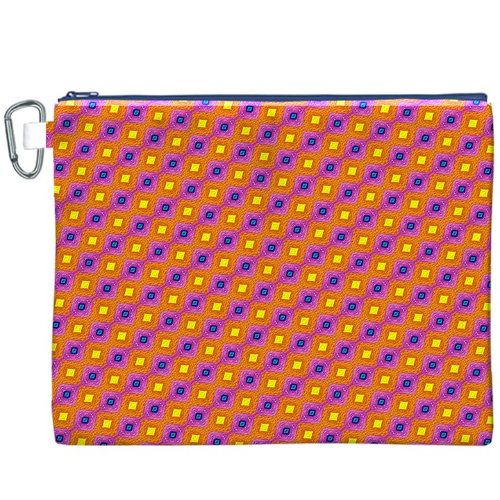 Vibrant Retro Diamond Pattern Canvas Cosmetic Bag (XXXL)