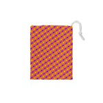 Vibrant Retro Diamond Pattern Drawstring Pouches (XS)  Front