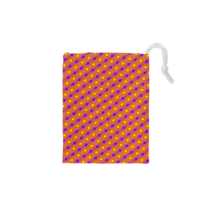 Vibrant Retro Diamond Pattern Drawstring Pouches (XS)