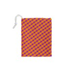 Vibrant Retro Diamond Pattern Drawstring Pouches (XS)  Back