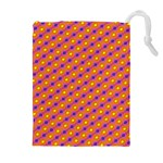 Vibrant Retro Diamond Pattern Drawstring Pouches (Extra Large) Front