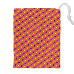 Vibrant Retro Diamond Pattern Drawstring Pouches (XXL)