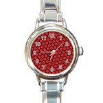 Red Passion Floral Pattern Round Italian Charm Watch Front