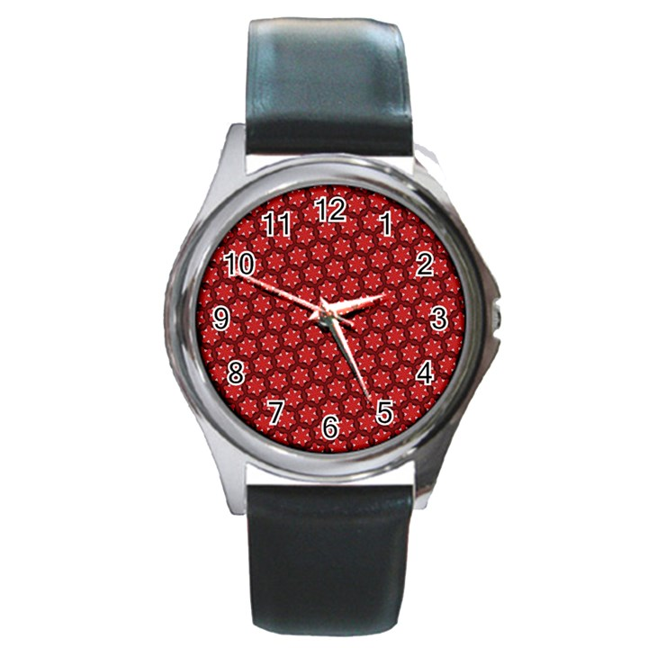 Red Passion Floral Pattern Round Metal Watch