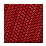 Red Passion Floral Pattern Tile Coasters Front