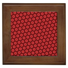 Red Passion Floral Pattern Framed Tiles