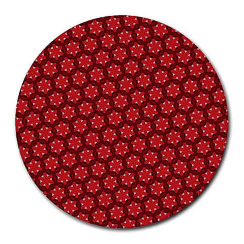 Red Passion Floral Pattern Round Mousepads