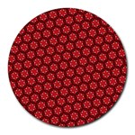 Red Passion Floral Pattern Round Mousepads Front